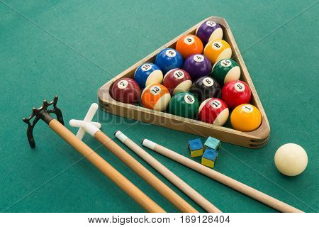 Snooker Billards Pool Balls, Cue, Chalk On Green Table