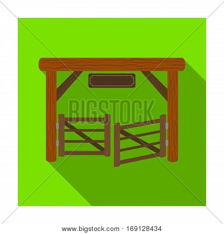 Paddock gate icon in flat design isolated on white background. Rodeo symbol stock vector illustration.