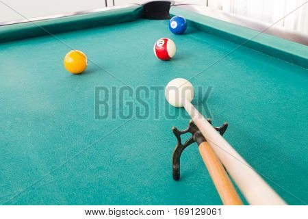 Aiming Ball Using Extender Stick During Snooker Billards Game