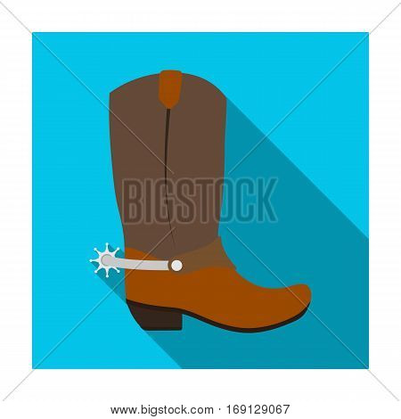 Cowboy boots icon in flat design isolated on white background. Rodeo symbol stock vector illustration.