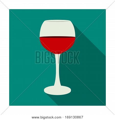 Glass of red wine icon in flat design isolated on white background. Wine production symbol stock vector illustration.