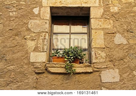 Window with a pot of flowers in a spanish village Besalu