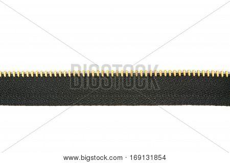 Beautiful black zipper isolated over white .