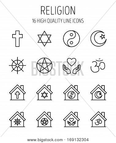 Set of religion icons in modern thin line style. High quality black outline culture symbols for web site design and mobile apps. Simple religion pictograms on a white background.