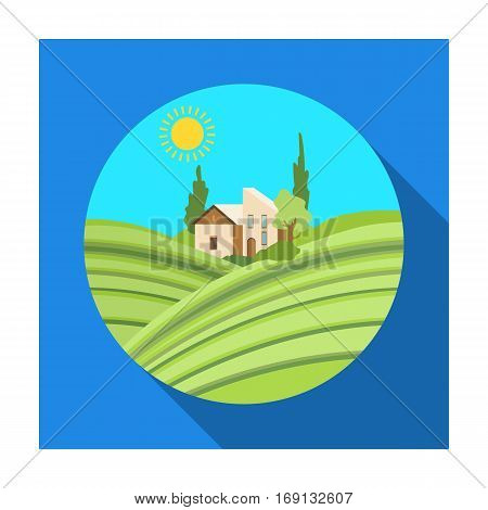 Lodge with vineyards icon in flat design isolated on white background. Wine production symbol stock vector illustration.