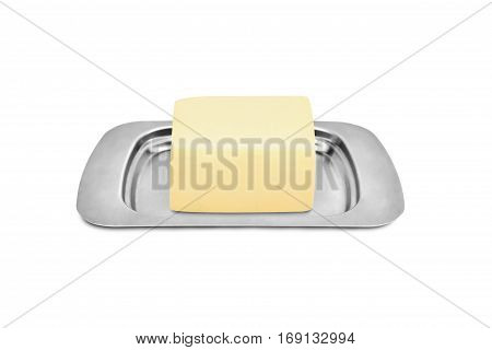 butter dish with butter isolated on white background