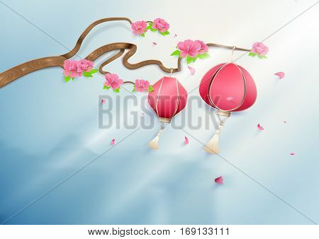 Chinese lanterns hanging on floral branch pink peonies with silhouette chinese town