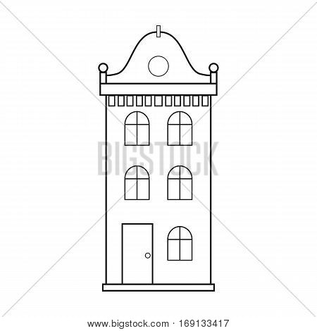 Building icon in outline design isolated on white background. Architect symbol stock vector illustration.