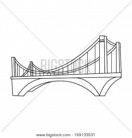 Bridge icon in outline design isolated on white background. Architect symbol stock vector illustration.