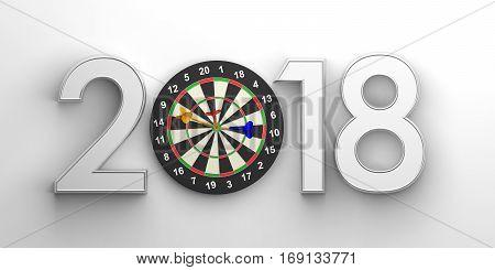New Year 2018 - Darts Board. 3D Illustration