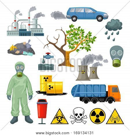 Cartoon environmental pollution icons set with radioactive nuclear toxic elements and industrial ecological problems isolated vector illustration