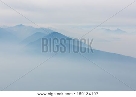view of beautiful foggy mountains at hurricane ridge at olympic national park washington state usa