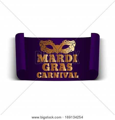 Mardi Gras banner with mask on a white background