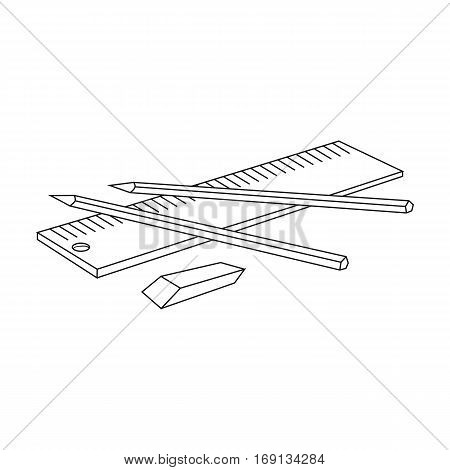 Drawing set of architect icon in outline design isolated on white background. Architect symbol stock vector illustration.