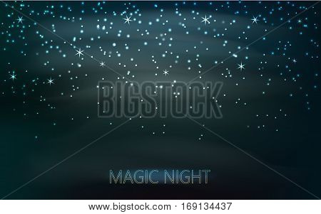 Stars on the dark blue sky. Abstract vector background with a magic rain of candles with glowing bokeh. Vector illustration.