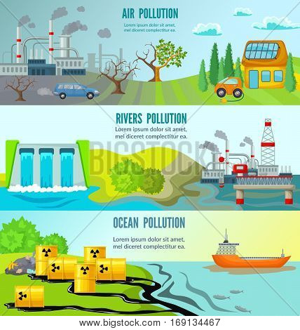 Ecological problems horizontal banners with chemical radioactive industrial garbage toxic environmental pollution vector illustration