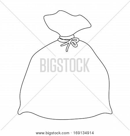Garbage bag icon in outline design isolated on white background. Cleaning symbol stock vector illustration.