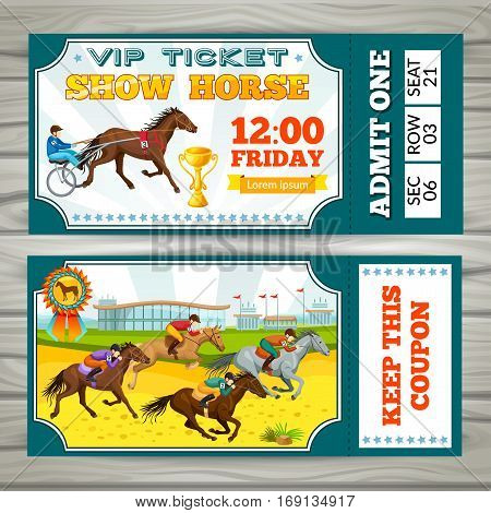 Equestrian show pass tickets with jockeys riding horses on wooden background vector illustration