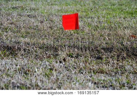 buried cable red flag marker on winter grass