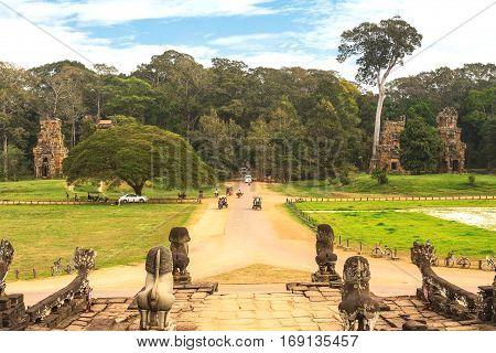 Driveway To Royal Palace In Angkor Thom, Cambodia.