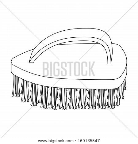 Cleaning brush icon in outline design isolated on white background. Cleaning symbol stock vector illustration.
