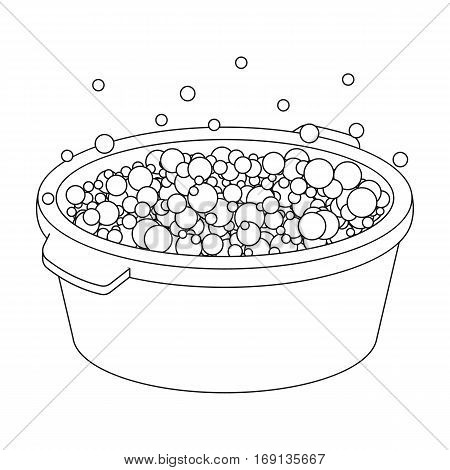 Basin with soap suds and water icon in outline design isolated on white background. Cleaning symbol stock vector illustration.