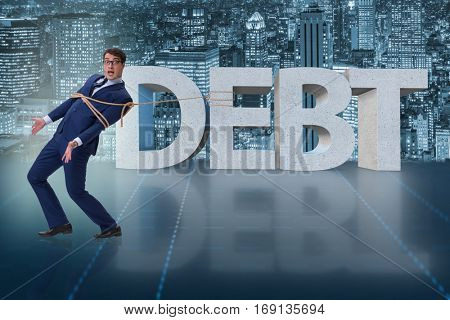 Man in debt business concept