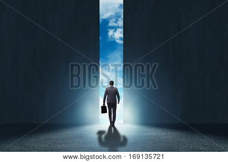 Businessman walking towards his ambition