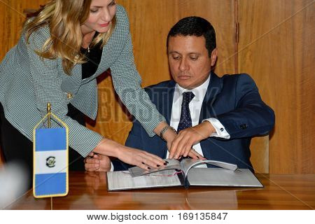 Belgrade, Serbia. November 10Th 2016 - Guatemalan Foreign Minister Carlos Raul Morales At Official V