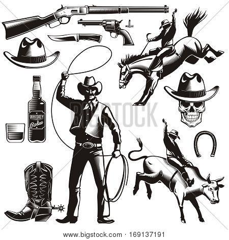Vintage rodeo elements set with sheriff jockey riding horse skull hat whiskey boots horseshoe weapon isolated vector illustration