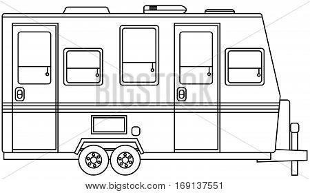 Vector drawing of RV Camper from the side poster