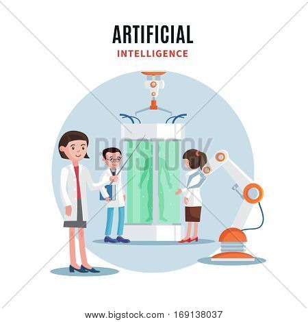 Genetic engineering template with group of scientists robotic arm and man silhouette in bio capsule vector illustration