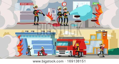 Rescue service colorful horizontal banners with firefighters extinguishing fire in bank office and building outside vector illustration