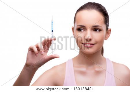 Woman in plastic surgery concept isolated on white