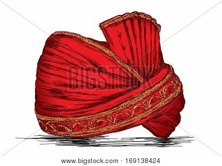 Indian Traditional Headgear Pagdi Detailed Vector Illustration
