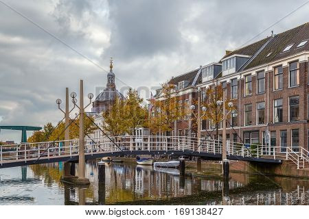 View of Oude vest channel in Leiden Netherlands