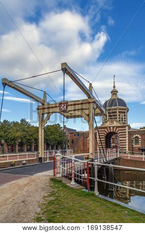 The Morspoort is the western gate of Leiden South Holland Netherlands located on the Morssingel. The stone gate was built in 1669 in the Mannerist style