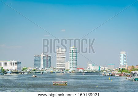 Thonburi bridge Chao Phraya River Bangkok, Thailand.