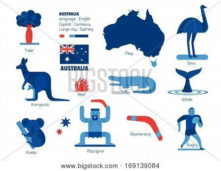 Australia info-graphic elements, Graphic resources, Vector illustration.