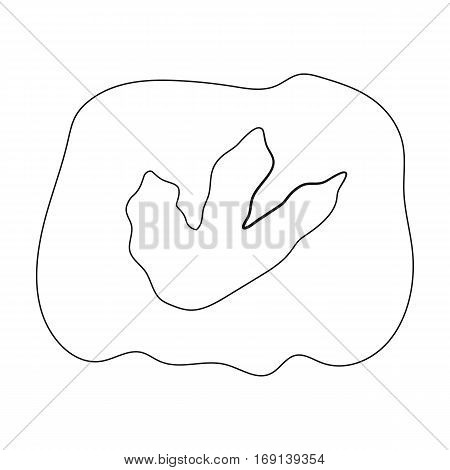 Rock with dinosaur footprint icon in outline design isolated on white background. Dinosaurs and prehistoric symbol stock vector illustration.