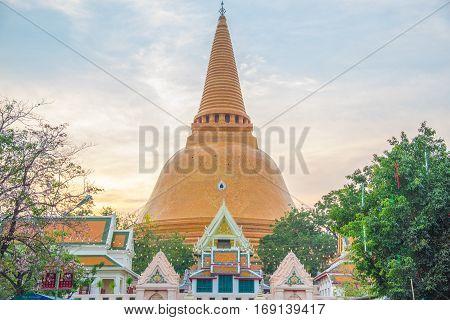 Wat Phra Pathom Chedi temple in Nakhon Pathom, Thailand.