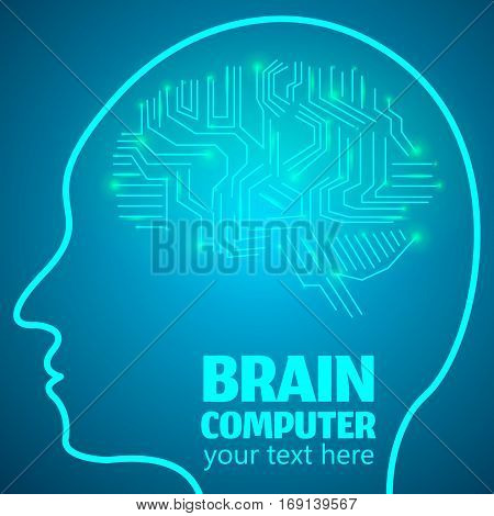 Human Brain Logo, Neurology Anatomical Conception.Silicon chips w synapses in shape of Cerebrum Cerebellum w text Brain computer on blue luminous background.Brain Thought lights shines as Brain works