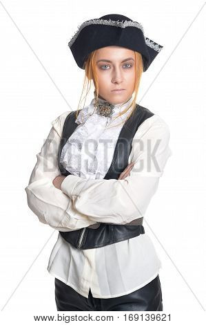 woman pirate in old vintage clothes posing against white background