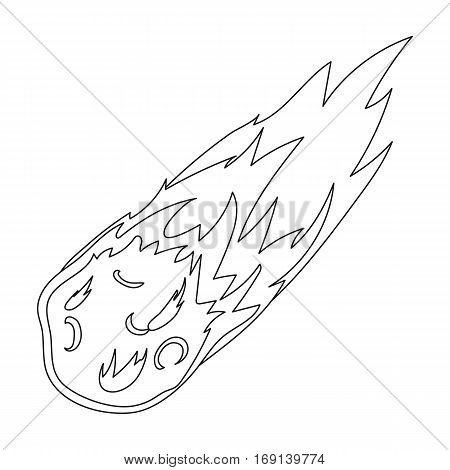 Flame meteorite icon in outline design isolated on white background. Dinosaurs and prehistoric symbol stock vector illustration.
