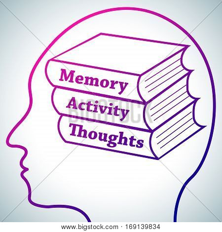 Human Head Logo Silhouette, Brain Studying Conception.Books in brain named Memory, Activity, Thoughts symbolizing Personal development, Brain Learn on white luminous background.Human psychology concept