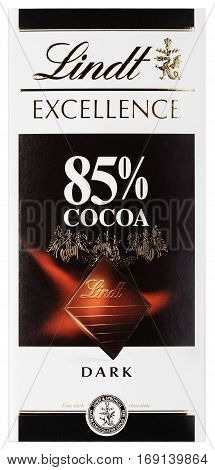 MOSCOW, RUSSIA - FEBRUARY 1, 2017: Top view of Lindt EXCELLENCE 85% Cocoa Swiss dark chocolate bar isolated on white with clipping path. Lindt chocolate bar made by Lindt & Sprüngli AG