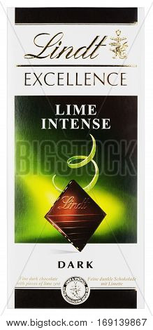 MOSCOW, RUSSIA - FEBRUARY 1, 2017: Top view of Lindt EXCELLENCE Lime intense Swiss dark chocolate bar isolated on white with clipping path. Lindt chocolate bar made by Lindt & Sprüngli AG