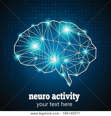 Abstract Human Brain Medical Logo, Neurology Anatomical Conception.Cerebral Geometric Brain and Cerebellum on blue dotted background w text Neuro Activity.Brain Thought lights shines as Brain works