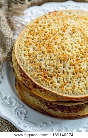 Pancakes From Wholemeal Flour Close Up.