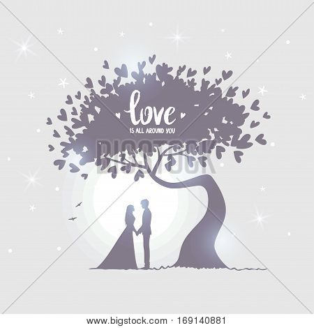 Romantic silhouette of loving couple under amazing tree with hearts in the moonlight. Valentines Day. Happy Lovers. Beautiful romantic card. Vector illustration